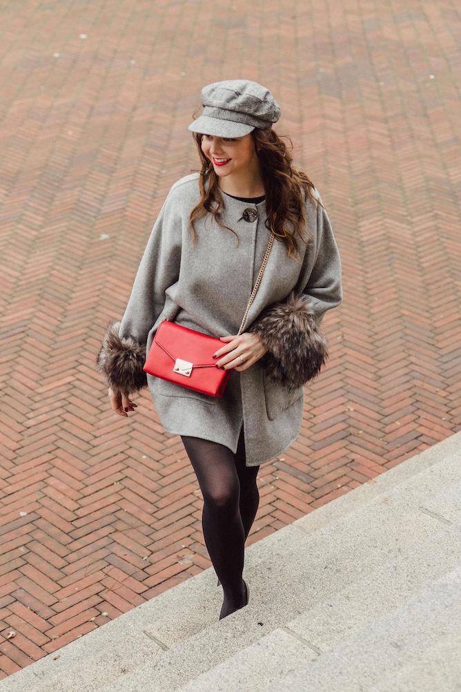 Zara poncho fake fur