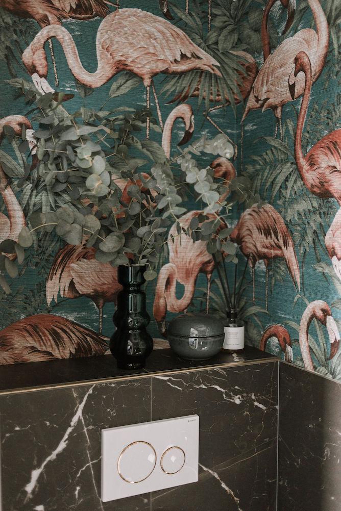 Arte flamingo behang op toilet