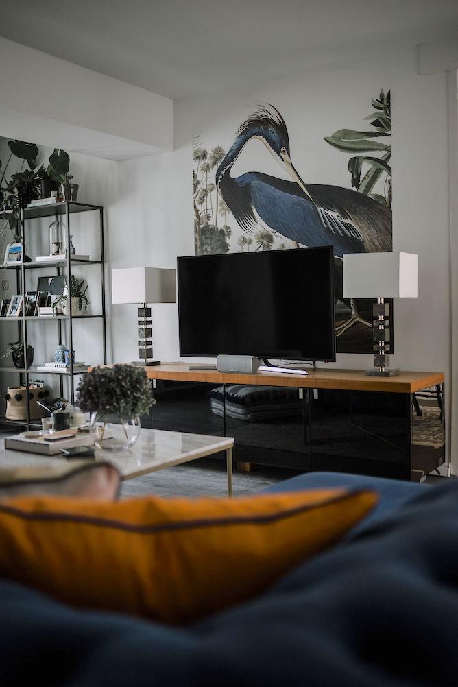 Behang inspiratie, Kek Amsterdam behangpaneel in woonkamer
