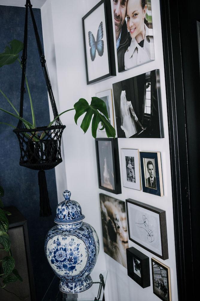 gallery wall met foto's op canvas