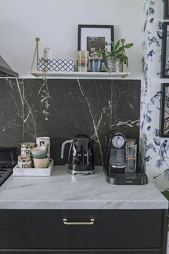 marmer wandplanken in de keuken